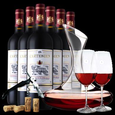 法國原瓶進口紅酒 卡特爾波爾多優質干紅葡萄酒 超級波爾多進口AOC 750mlx6瓶 整箱裝