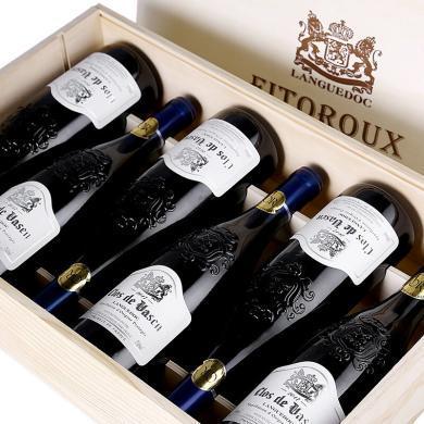 【紅酒木盒裝】法國原瓶進口AOC紅酒 菲特瓦莊園干紅葡萄酒 禮盒 朗格多克產區 750ml*6