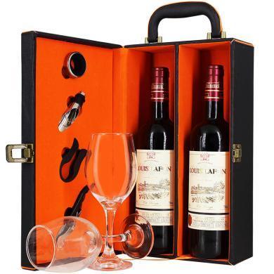 紅酒禮盒 法國原瓶進口 路易拉菲干紅葡萄酒750ml*2瓶  雙支皮盒裝