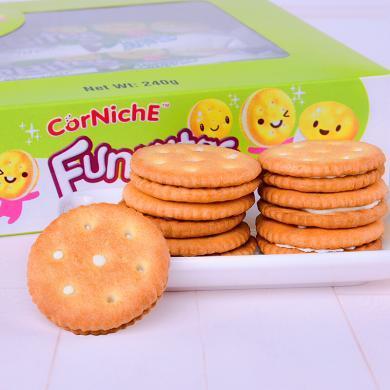 印尼進口餅干 可尼斯椰子味夾心餅干240g盒裝 休閑零食辦公室零食進口零食品 椰子味