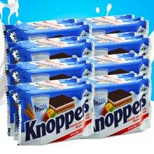 德國進口零食品 knoppers牛奶榛子巧克力五層夾心威化餅干10包裝