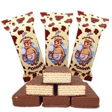【滿199減100】康吉 大牛巧克力威化餅干500g 俄羅斯進口巧克力威化餅煉乳巧克力早餐餅