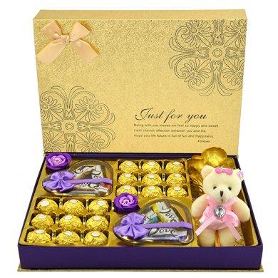 德芙巧克力禮盒裝費列羅巧克力禮盒玫瑰花送女友節日生日創意禮物金生今世月光禮盒