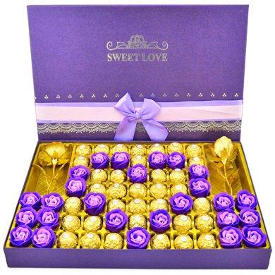 費列羅巧克力禮盒裝 費雷羅巧克力送女友生日情人節禮物520創意心中有你大紫色禮盒35