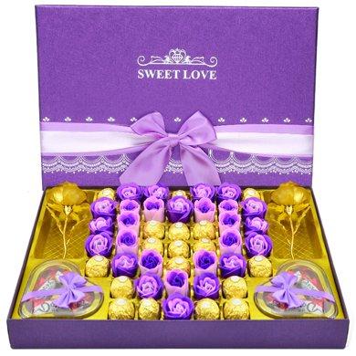 費列羅巧克力禮盒裝 費雷羅巧克力德芙巧克力禮盒生日情人節禮物520德費大紫盒18