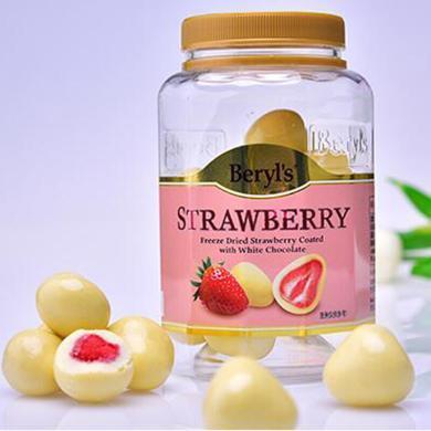马来西亚进口 倍乐思beryls 草莓夹心白巧克力罐装240g 休闲零食品 生日/情人节礼物糖果 草莓夹心白巧克力240g