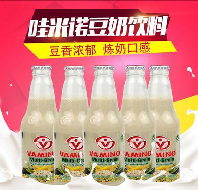 泰國VAMINO豆奶飲料 進口哇米諾 谷物味 豆奶飲品300ml*5瓶玻璃瓶裝