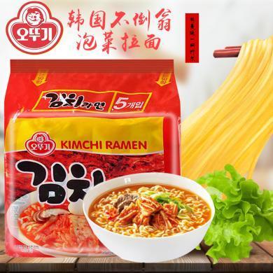 韓國進口不倒翁拉面奧多吉辣白菜方便面泡菜速食泡面120g*5包裝