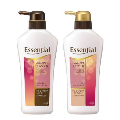 日本花王Essential 深層保濕修護 水漾防毛燥洗發護發套裝(洗發385ml+護發385ml)