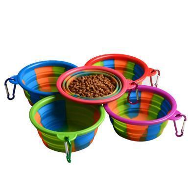 新款上市 迷彩硅膠碗 可折疊 便攜外出 寵物用品 狗狗食盆-迷彩折疊硅膠碗帶扣登山扣