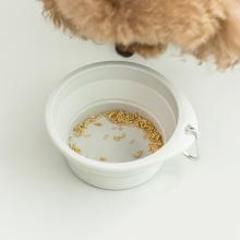 佐敦朱迪Jordan&Judy寵物喂食碗 可折疊貓狗通用便攜喝水戶外泰迪金毛喂食碗狗盆 淺灰色