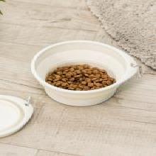 佐敦朱迪Jordan&Judy寵物喂食碗 可折疊貓狗通用便攜喝水戶外泰迪金毛喂食碗狗盆 米白色