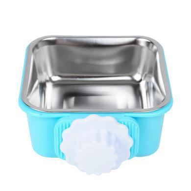 Kimpets 懸掛式貓碗狗碗 寵物狗狗食盆 掛式方形塑料不銹鋼狗掛碗
