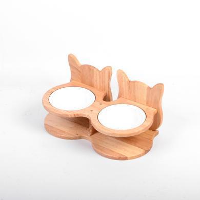 貓碗實木陶瓷碗保護頸椎專用斜口貓咪飯盆喝水盆碗架寵物餐桌狗碗