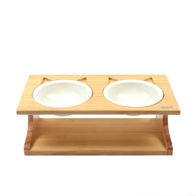 喵仙儿宠物实木餐桌猫用品陶瓷碗猫餐桌猫碗狗碗