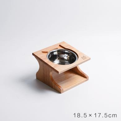 喵仙兒 實木貓餐桌陶瓷碗防滑斜口貓咪飯盆碗架寵物碗餐桌狗碗貓碗