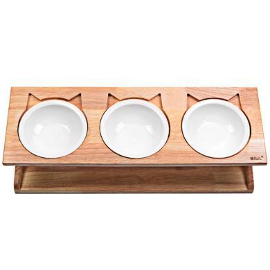 喵仙兒橡木三碗瓷碗貓餐桌貓碗狗碗寵物專利貨源實木餐桌