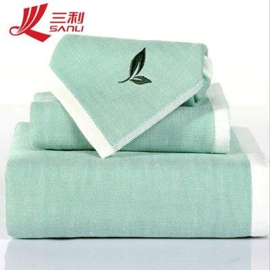 三利 纯棉AB版纱布系列 植物香味 方巾毛巾浴巾组合三件套礼盒装 茶香