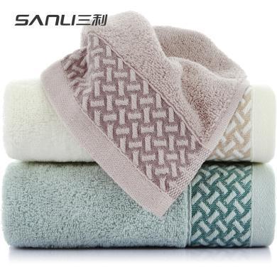 三利 毛巾家纺 纯棉素缎毛巾 33×73cm 柔软吸水洗脸面巾
