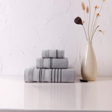 菲爾芙精梳長絨棉提緞面巾(深灰))THJA018(70cm*34cm)