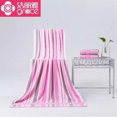 洁丽雅 纯棉条纹舒适浴巾 强吸水简约成人保暖大浴巾6455