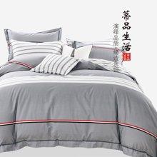 蒂品生活(DIPINHOME)家纺 初恋纯棉简约条纹四件套 AB版欧式灰色床上用品 两人用