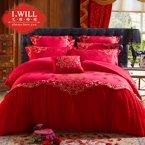 艾维婚嫁 婚庆四件套大红提花六件套蕾丝新婚结婚高端床品套件-珠联璧合