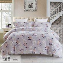 乐加家纺 1.8m珊瑚绒床单四件套法兰绒床上用品法兰绒被套件-逆香