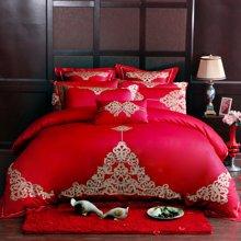 艾维婚嫁 大红色新婚婚庆绣花刺绣六件套纤维床上用品结婚套件-罗曼蒂克