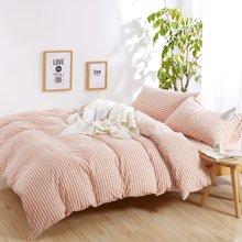 米卡多良品全棉水洗棉四件套无印日式纯棉格子床品床笠款床上用品