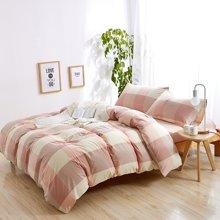 米卡多格子全棉水洗棉四件套床笠套件1.5米1.8m被套床上用品