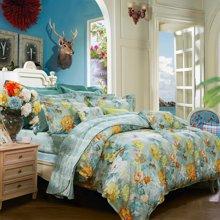 富安娜家纺 床上用品四件套 秋冬1.5米/1.8米床高支高密全棉斜纹套件 宛若清风