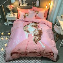 DREAM HOME 四季全棉13070大版卡通系列四件套儿童床单/床笠款粉红小女孩系列586605-1