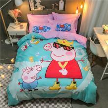 DREAM HOME 四季全棉13070大版卡通系列四件套儿童床单/床笠款小猪佩奇系586605-3