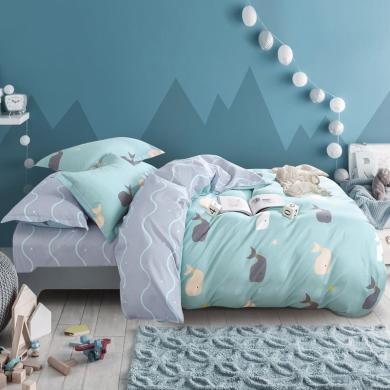 帝豪家紡 簡約四件套全棉純棉被套床雙人學生宿舍床上用品
