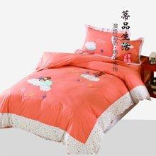 蒂品生活(DIPINHOME)家纺 云霞梦四件套 云朵图案被套纯棉床单 儿童枕套床品