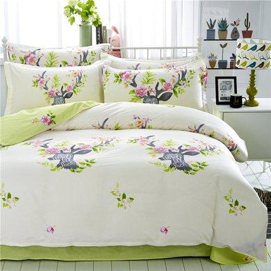 VIPLIFE家紡 精梳全棉四件套床單被套清新田園風