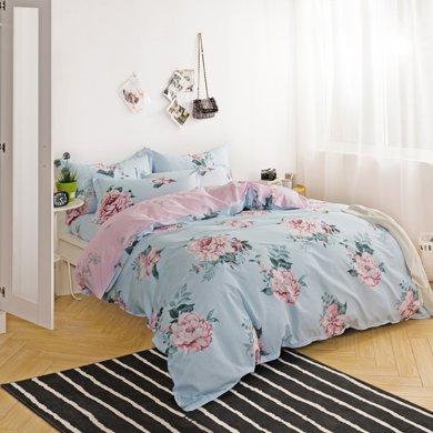 雅綠 春暖花開 純棉床上用品四件套床笠 床單 床裙活性印被單枕頭套 1.8米