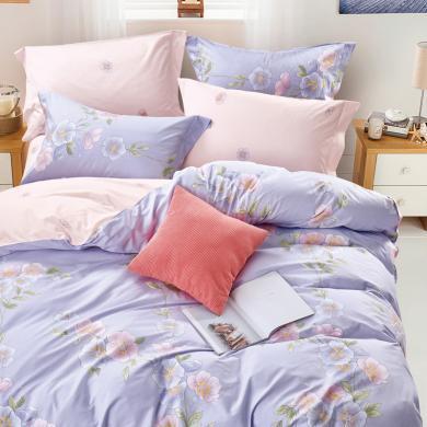 帝豪家紡 床上用品全棉純棉床笠四件套被套雙人1.8m