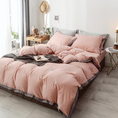 DREAM HOME 床品套件四件套 宽边水洗棉床单四件套 1.2/1.5/1.8/2.0米床四件套641932-1