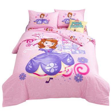 迪士尼家紡  純棉兒童床上用品四件套卡通床單被套全棉公主風三件套(床笠款需備注)