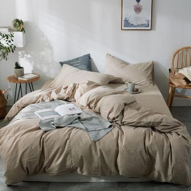 DREAM HOME 色織全棉水洗棉四件套床單四件套純色床笠四件套120494a