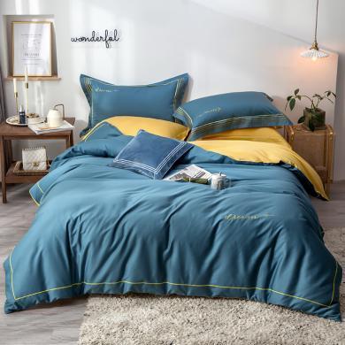 VIPLIFE家纺 高端奢华60S长绒棉素色绣花四件套床品套件