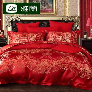 雅蘭家紡 婚慶高密提花蓋被四件套床上用品 佳偶天成婚慶套件