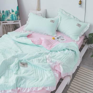 DREAM HOME 水洗棉夏被四件套空調被芯夏涼被 荷葉邊公主風夏被643853-1