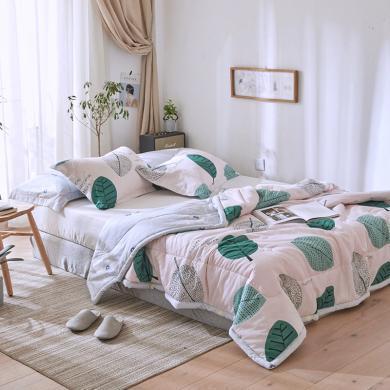 DREAM HOME 【送枕套】全棉夏被 空调被 夏凉被 纯棉被子 可水洗机洗被子675581-2