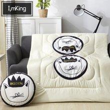 羽芯家紡 卡通汽車墊 抱枕被 靠墊被兩用 辦公室午睡枕空調被四季被