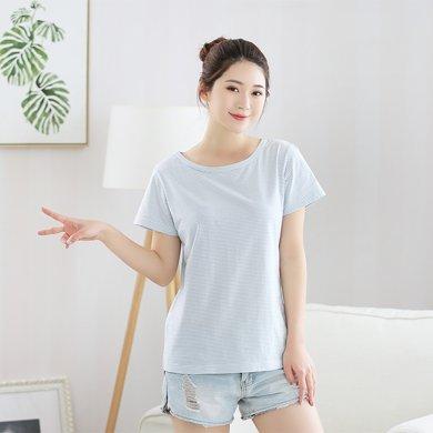 Rain&home2018新款夏季純棉半袖細條紋圖案家居短袖