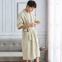 大?#24433;?#29926;提长绒棉男士浴袍纯棉中长款男士系带家居袍睡衣无甲醛