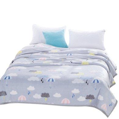 米卡多夏季空调毯珊瑚绒毯子单双人薄法兰绒毛毯毛巾被办公室空调午睡毯